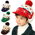 FREE SHIPPING!!! 2013 fashion child trapper hat cap knitted winter earflap hat 2~7 years old kids bomber hat