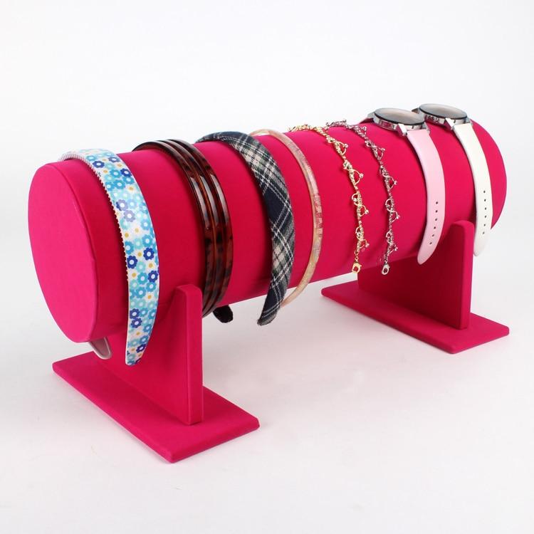 TONVIC Wholesale Pink Velvet Headband Display For Headwear Necklace Bracelet Watch Stand Holder Rack 36cm L High Quality
