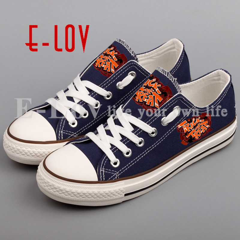 E-LOV Happy Halloween Shoes Printed Pumpkins Canvas Shoes Low Top Casual Women Shoes Design For Couples e lov women casual walking shoes graffiti aries horoscope canvas shoe low top flat oxford shoes for couples lovers