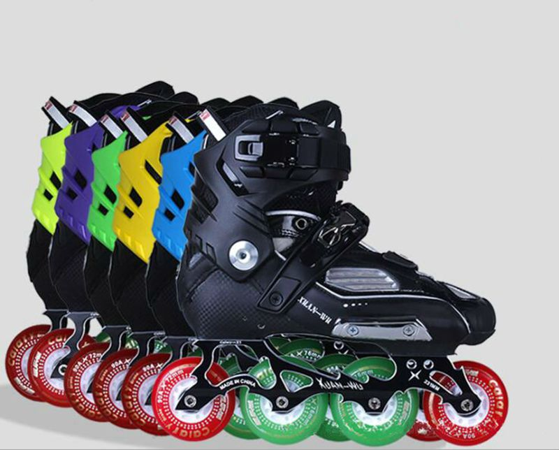 Haute qualité! Patins à roues alignées Slalom professionnels chaussures de patinage à roulettes adultes patins de patinage gratuits