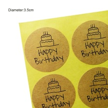 100 Pcs/lot Happy Birthday Round Seal Sticker Kraft Paper Adhesive Stickers For Homemade Bakery & Gift Packaging Scrapbooking