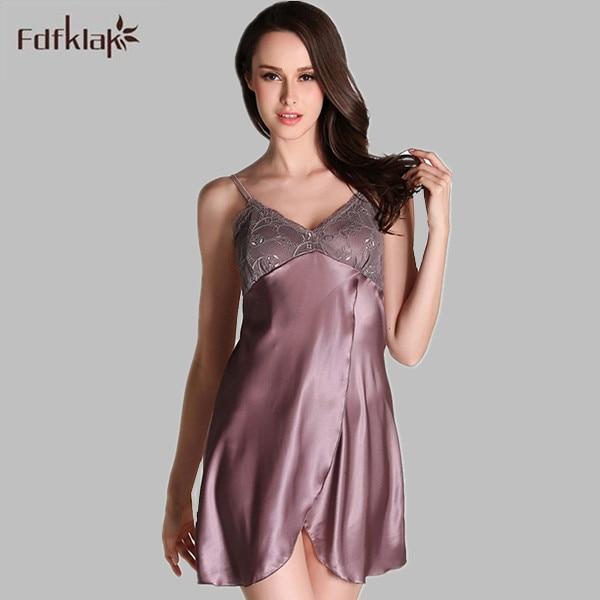 Sexy Nightdress Women Short Satin Nightgowns Sleepwear For Women Silk  Nightgown Female Night Dress Nightwear Large Size E0173 05a7717a5