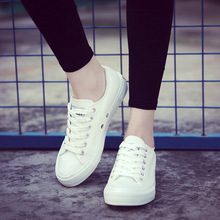 2018 New white canvas sneaker shoes female spring summer white shoes laces women casual shoes students tenis feminino