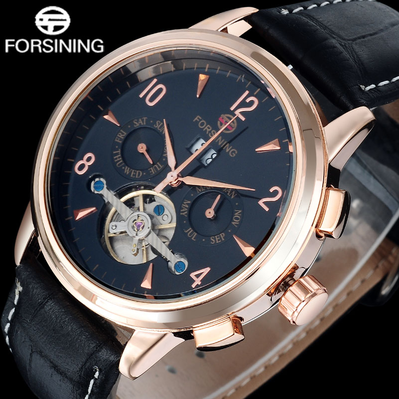2016 NEW FORSINING business brand men s watch auto Mechanical calendar design watch tourbillion gold number