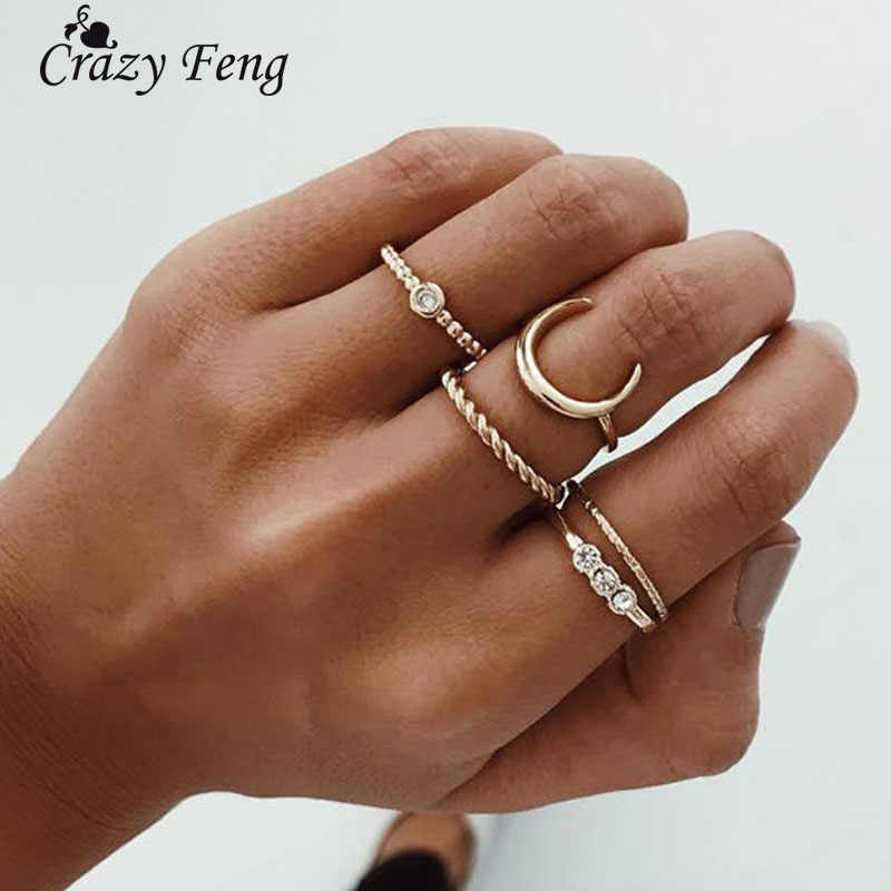 Crazy Feng 5pcs/lot Crystal Knuckle Ring Set Boho Punk Jewelry For Women Gold Color Adjustable Moon Finger Ring Bohemian Anillos