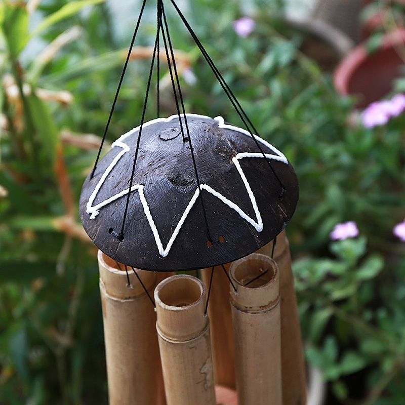 Aqumotic Large Bamboo Wind Bell Bamboo Wind Chimes Outdoor Turtle Tube Wind chime for Yoga Sounds In The Wind Windward Sing in Wind Chimes Hanging Decorations from Home Garden