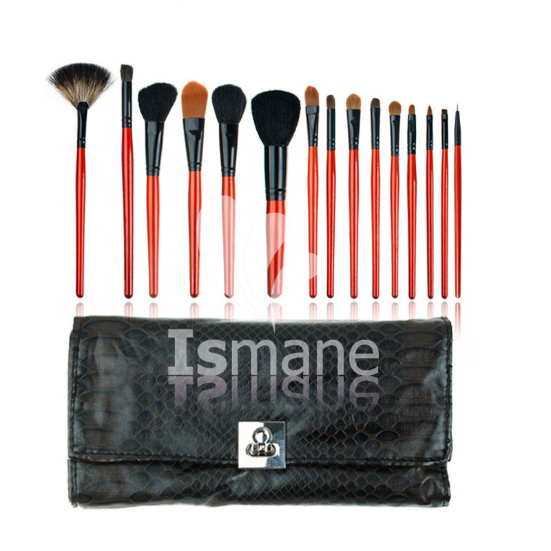 15pcs Black Snake Makeup Brushes Professional Make Up Beauty Blush Foundation Contour Powder Cosmetics Brush Makeup Set Tool Kit jessup 5pcs black gold makeup brushes sets high quality beauty kits kabuki foundation powder blush make up brush cosmetics tool