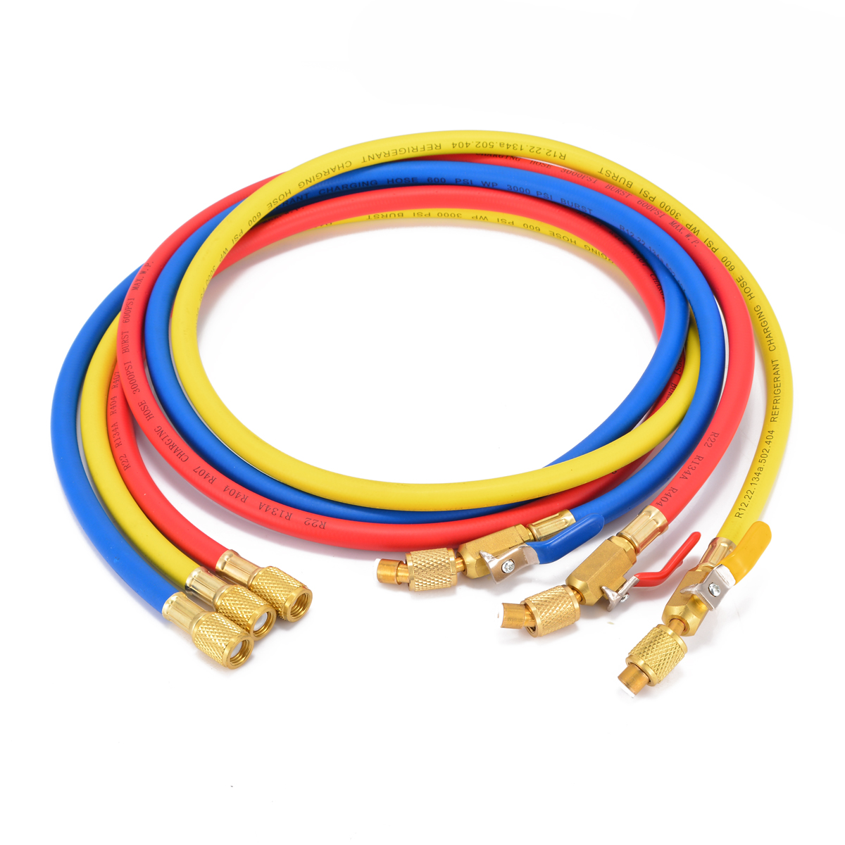 3 pcs Bleu/Rouge/Jaune De Charge Tuyaux 1/4 SAE 150 cm 600PSI Avec Pratique R410a R134a AC réfrigérant Vanne de sécurité Mayitr