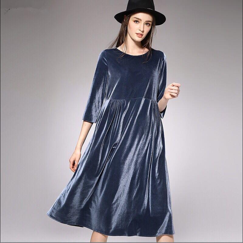 Plus Size M-5XL 6XL 7XL Women Winter Dress Long Velvet Dresses Elegant Ladies Formal Party Velours Dresses Black,red,blue B