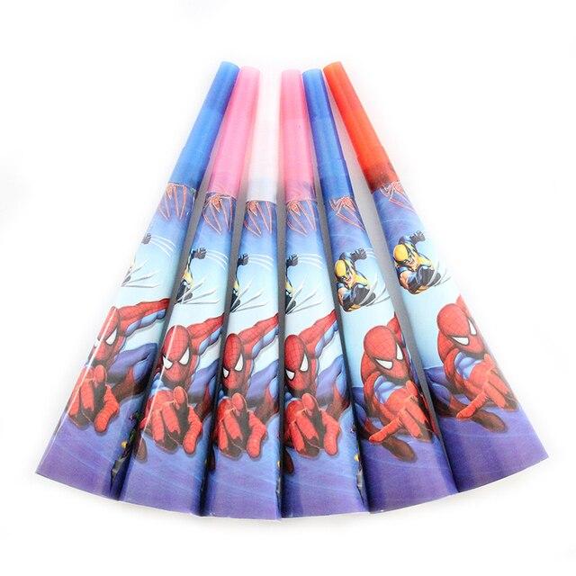 6 Pçs/lote Fabricante do Ruído Horn & Papel Tema Do Desenho Animado Do Homem Aranha Trompete Acessórios Fontes Do Partido Festa de Aniversário do Miúdo Brinquedos Decorativos