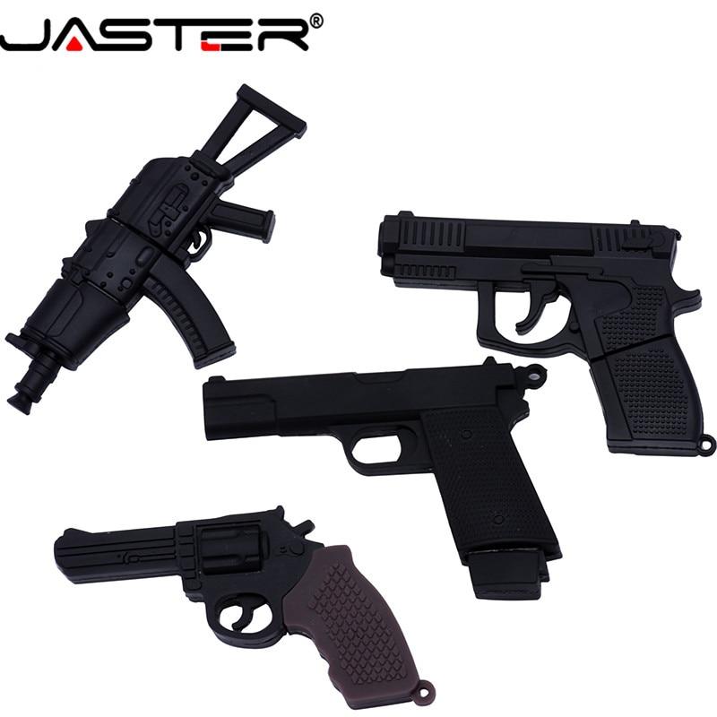 JASTER  The New Cute Pistol USB Flash Drive USB 2.0 Pen Drive Minions Memory Stick Pendrive 4GB 8GB 16GB 32GB 64GB Gift