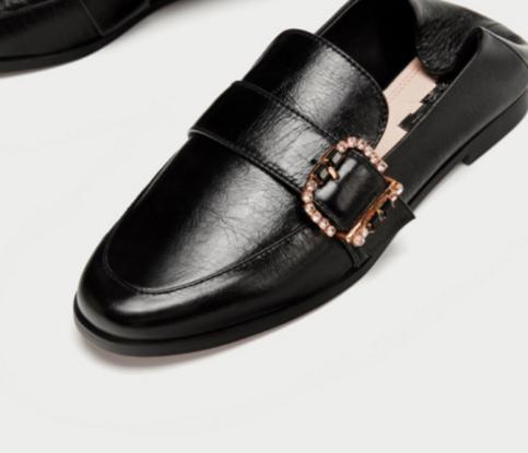 Cuir Véritable Les Chaussures Or Noir Boucle Plates Casual En Sur Mocassins Slip Cristal Femmes wvnInESqF6