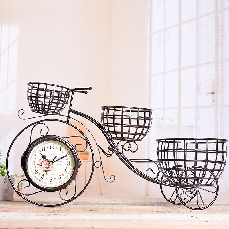 TUDA Free Shipping Creative Home Decorative Table Clocks Large Table Clock Retro Bicycle Metal Table Double Sides Desk Clocks