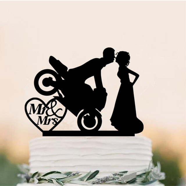 Acrilico Motocross Coppia Bride & Groom Silhouette Wedding Cake Topper Mr e Mrs Toppers per la Decorazione di Nozze Torta Accessorio ct-g