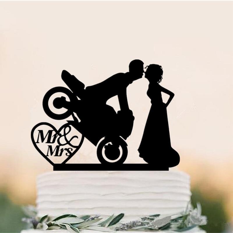 Topper do Bolo do Casamento Toppers para Decoração de Casamento sr e Sra Acrílico Motocross Casal Bride & Groom Silhueta Bolo Acessório
