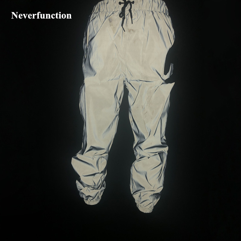 2019 New Men Streetwear Night Dance Full Reflective Joggers Pants Harajuku Waterproof Hip Hop Elastic Waist Sweatpants Trousers