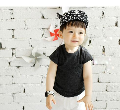 50pcs/lot fedex fast free shipping children cotton star hat  Baby Girl Boys Outdoor Baseball Stars Ox horn cap