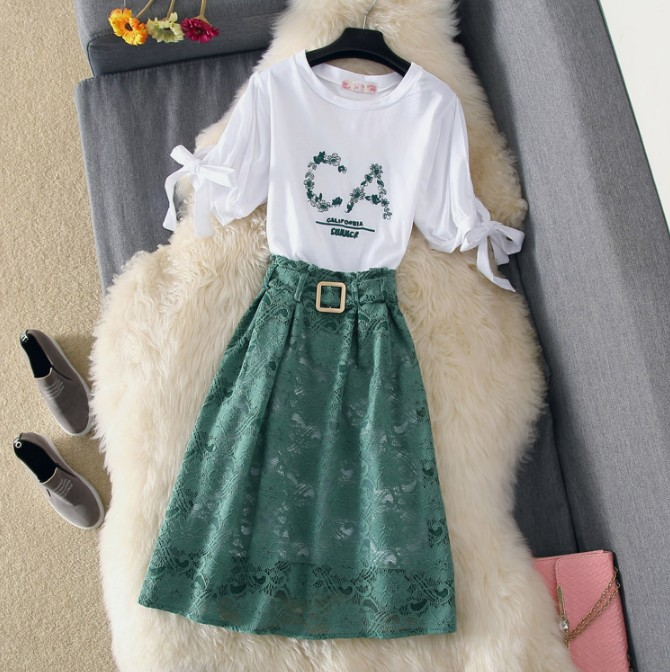 Embroidered Lace Long High piece Khaki Sweet Girls shirt 2018 Skirt green T New Summer Lady Women's Two Waisted Suits Fashion qxY4wRpXP