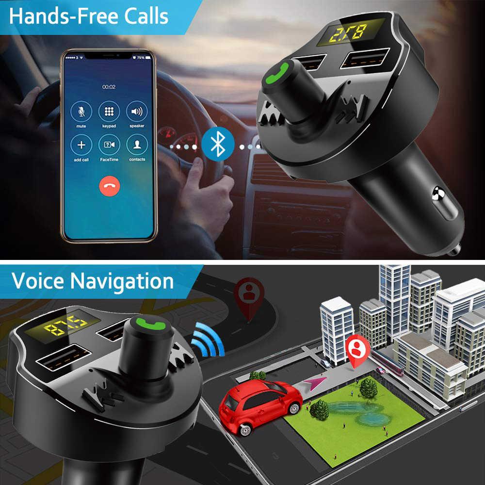 VR robot Bluetooth 5,0 Kit manos libres coche transmisor inalámbrico de FM modulador TF tarjeta/U disco Audio coche reproductor MP3 cargador USB Dual