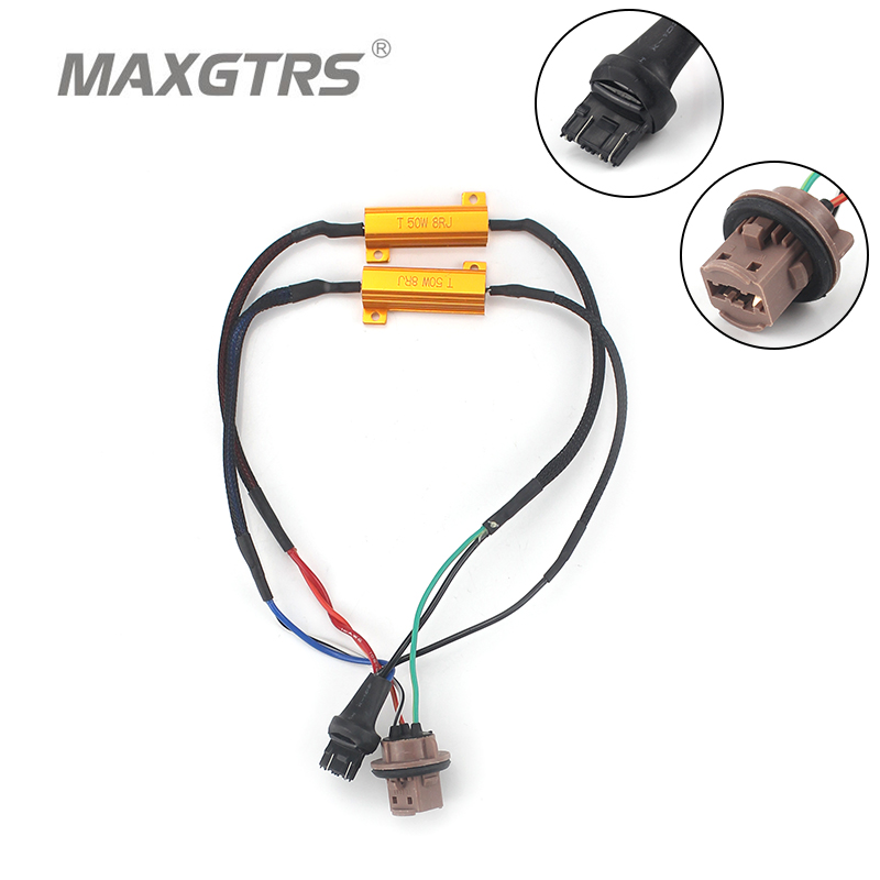 2x S25 T20 1156 BA15S 1157 7440 7443 3156 3157 50W Car LED Turn Singal Load Resistor Canbus Error Free Wiring Canceller Decoder 1157 bay15d led decoder light bulb warning canceller error free load resistor adapter