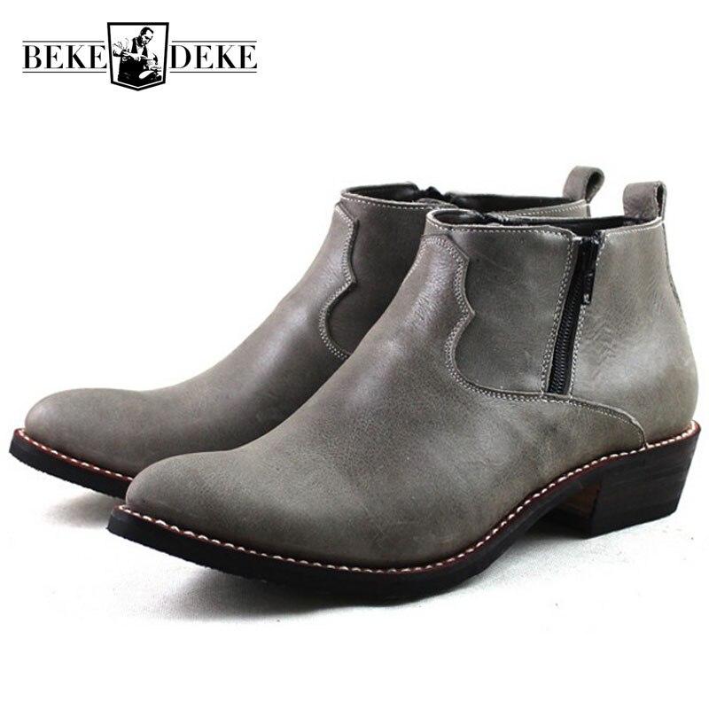 Bottes de Cowboy occidentales de luxe à bout pointu pour hommes en cuir de vachette véritable bottes de sécurité de travail pour hommes bottes de moto d'équitation de grande taille 45
