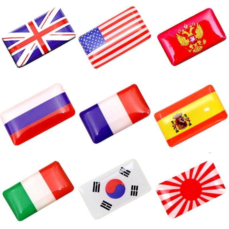 2pcs Car-styling 3D Shield Flag Car Sticker Russian Spain France Germany National Emblem Car Decoration Accessories