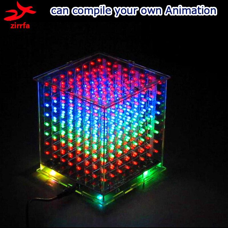 Diy elektronische 3D mehrfarbige led licht cubeeds kit mit Ausgezeichnete animationen 3D8 8x8x8 geschenk led-anzeige elektronische diy kit