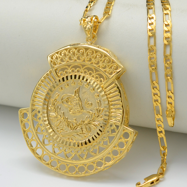 US $2 98 |Anniyo Turkey Coin Pendant and Necklaces for Women Men Gold Color  Turkish Jewelry Ethnic Gifts #009812-in Pendant Necklaces from Jewelry &