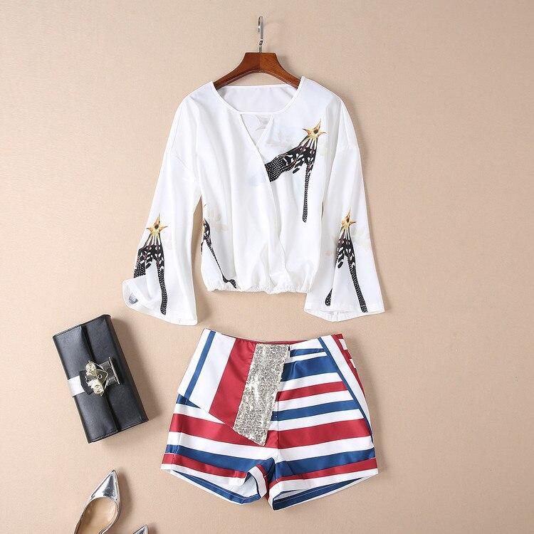 D'été 2019 cou Rayé Set Streetwear D'origine Pantalon américain Eur Piece Costumes O Flare Nouvelle Blanc Femmes Court Manches Blouse 2 tngx8OZBwq