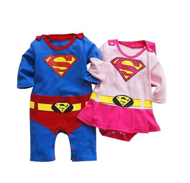 Ropa de bebé recién nacido mameluco del bebé niñas niños de dibujos animados superman superwoman estilo de manga larga primavera otoño mono infantil del mameluco