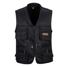 Spring Autumn Vest Men Casual Thin V Neck Sleeveless Jacket Vest Male With Many Pockets Fishing Photography Tactical Vest(China)