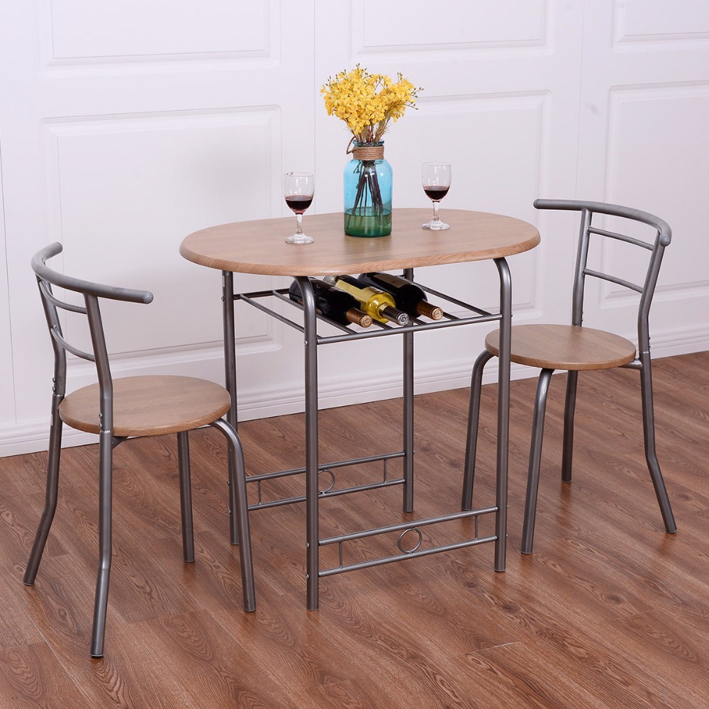 Giantex 3 PCS Bistro Dining Set Table and 2 Chairs Kitchen Pub Home Furniture Restaurant Dining Room Furniture HW52205NA