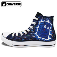 Hand Painted Converse All Star Design Police Box Lace Up Flats Shoes Unisex High Top Canvas Sneakers for Gifts
