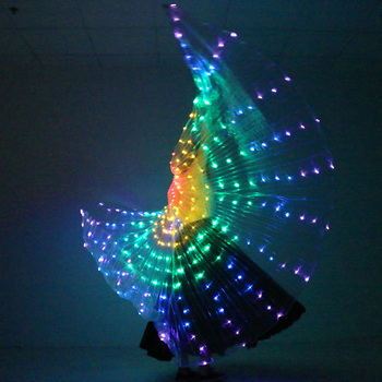 Stage Lights Led | Stage Performance Props Women Dance Accessory DJ LED Dance Wings Light Up Wing Costume LED Dance Wings Rainbow Colors With Stick