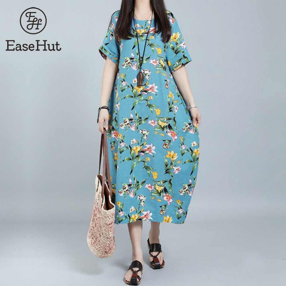 EaseHut 2019 Women Vintage Cotton Loose Dress Summer Floral Printed O-Neck  Short Sleeve Pockets da253644dda4