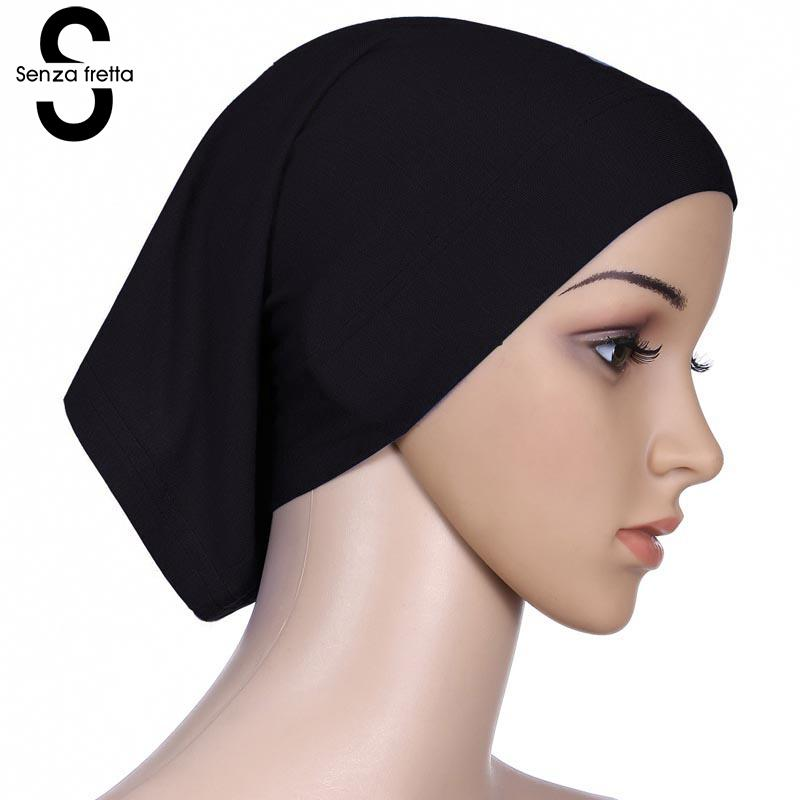 Senza Fretta Women Under Scarf Hat Cap Bone Bonnet Ninja Hijab Islamic Neck Cover Muslim Under Scarf Hijab Cap L10535 imucci 13 colors solid muslim turban cap women elastic beanies hat bandanas big satin bonnet indian women turban black red