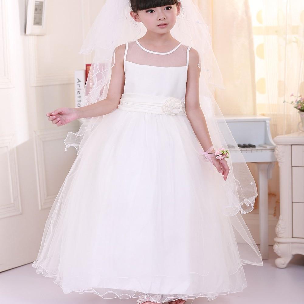 ФОТО new 2016 flower girls pageant dresses white Floor Length teenager girls dress vestidos de comunion suit 2~12 age wedding dress