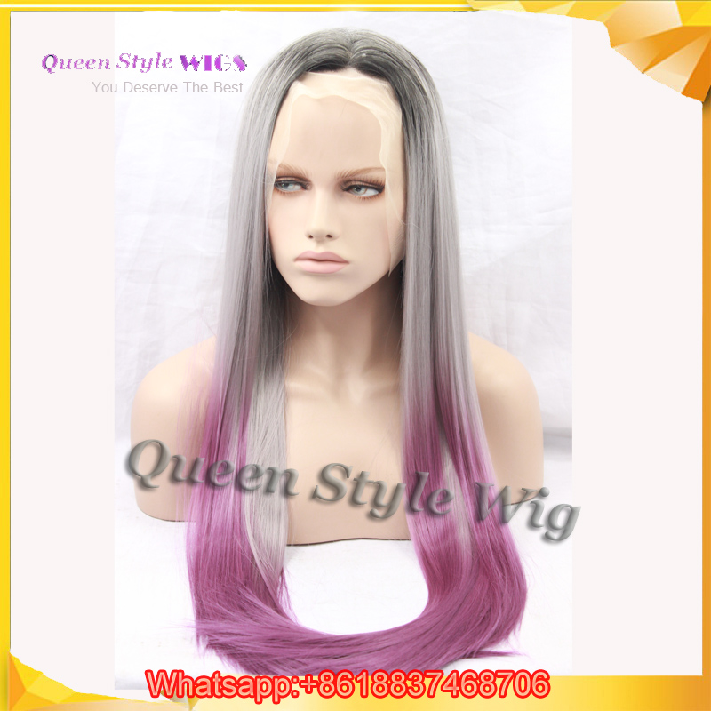 Ombre Grey Lavender Synthetic Lace Front Wig Light Purple
