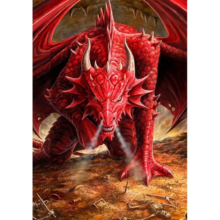 Вышивка красный дракон