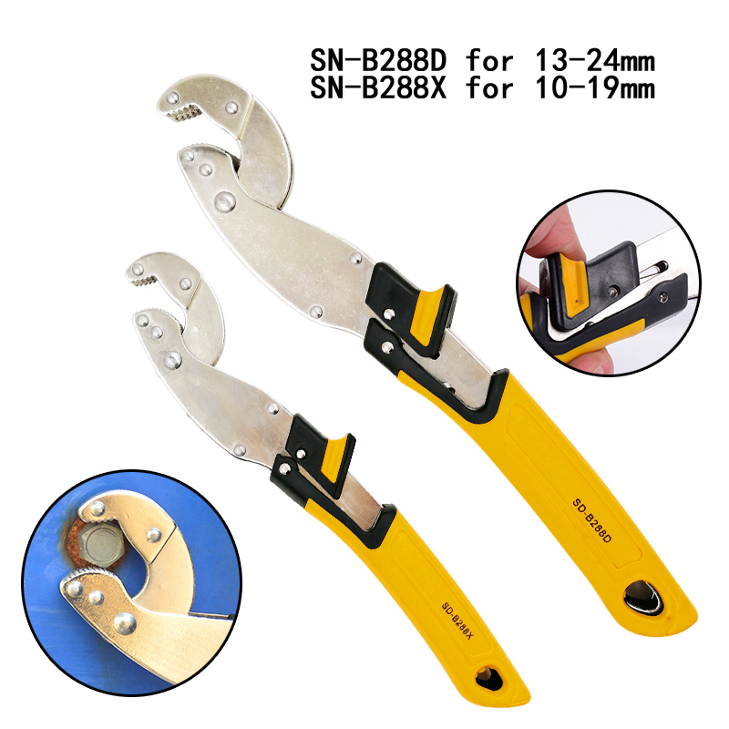 10 19 13 24Mm New Universal Key Pipe Wrench Open End Spanner Set 65 Manganese Steel Chrome Plating Snap Grip Plumber Multi Too in Wrench from Tools