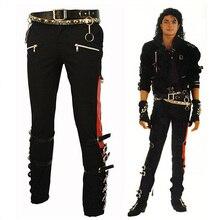 Michael Jackson MJ PROFESSIONAL ENTERTAINERS BAD TROUSERS PANTS PUNK BLACK BUCKLE MATEL US STYLE