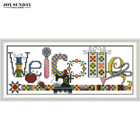 Sewing Machine Welcome Card Cartoon Counted Cross Stitch Kit DIY Handwork Paintings 14CT 11CT DMC Embroidery Kit Needlework Set Pakistan