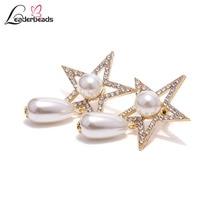 Womens Korean Style Elegant Shiny Crystal Star Imitation Pearl Dangle Earrings Bridals Wedding Party Charm Brincos Accessories