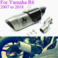 For Yamaha R6 Motorcycle Exhaust Pipe Full Systems R6 2007 2008 2009 2010 11 12 13 14 15 16 17 2018 Years For Akrapovic Muffler