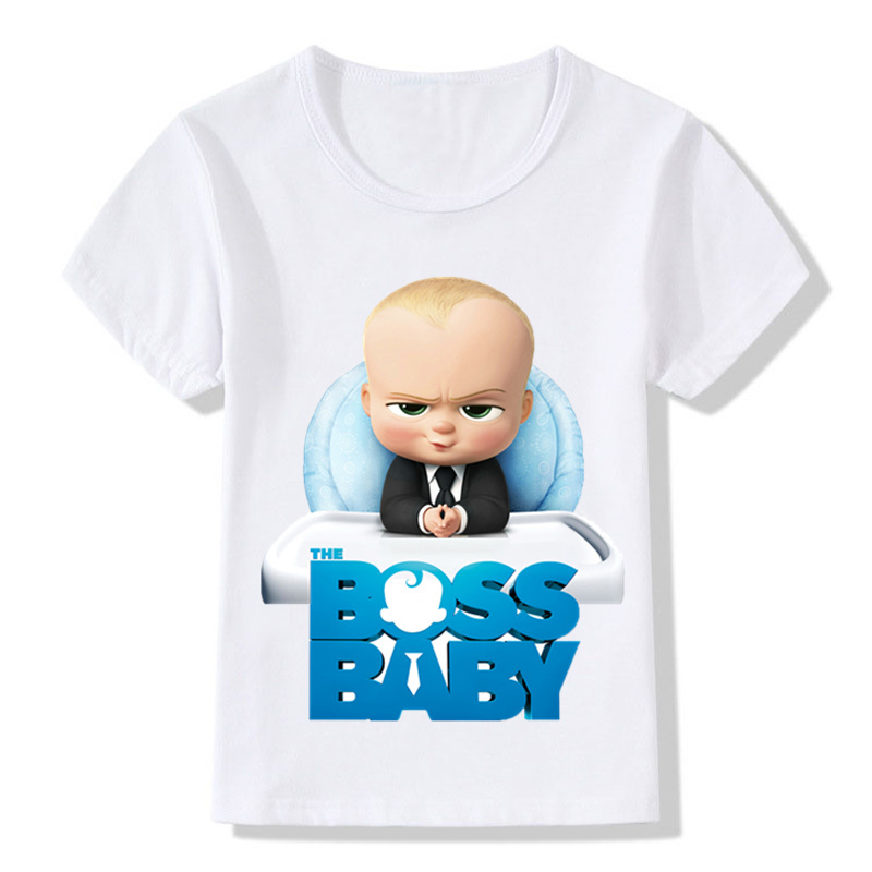 2-14 Years Children The Boss Baby Print Funny T Shirt Baby Girls Cartoon Short Sleeve Summer Tops Kids Clothes,ooo5192