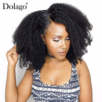 Afro Kinky Curly Clip In Human Hair Extensions 4B 4C Brazilian Human Natural Hair Clip Ins Dolago Remy Full Head