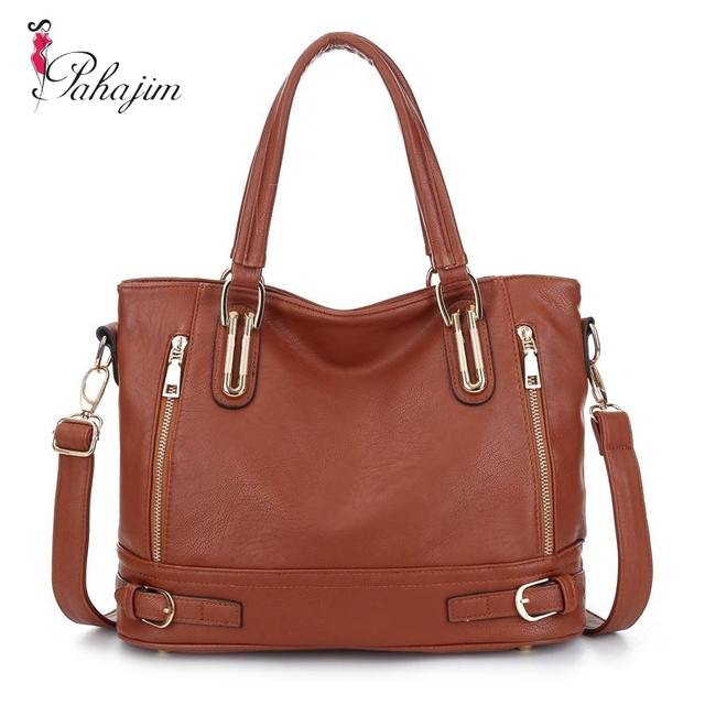 13363bcc3211 Pahajim 2018 Fashion Designer Brand Women Pu Leather Handbags ladies  Shoulder bags tote Bag female Retro Vintage Messenger Bag