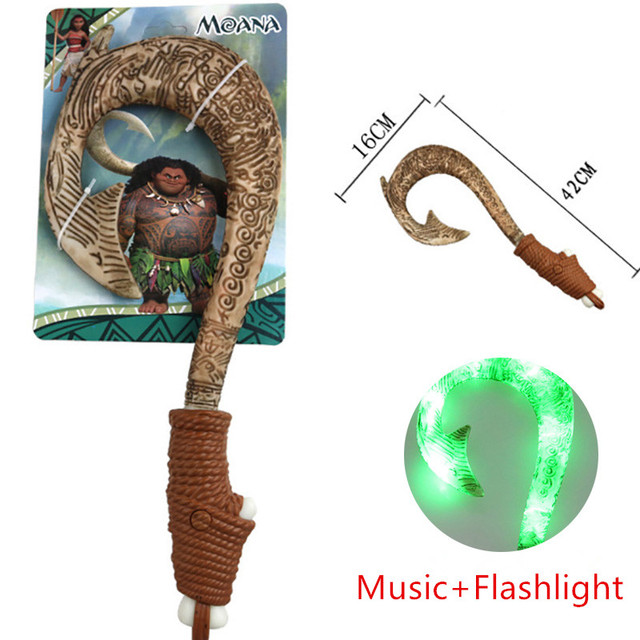 42CM Moana Waialiki Maui Weapons LED Light Music Saber Fishing Hook Action Figures Moana Necklace Adventure lightsaber Kids Toys