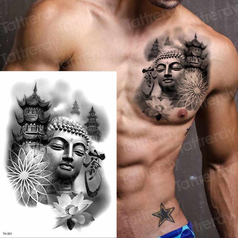 Temporary Tattoo Sticker Tatoo Sleeve Tattoo Black Large Tattoo Water Transfer Tatoo Men Chest Body Art Tattoos Waterproof Lotus Aliexpress