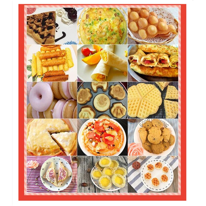 220V Multifunctional Non stick Electric Cake Maker Waffle Donut Crepe Grill Plate With 7 Plates Electric Waffle Machine